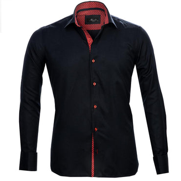 Navy Blue Red Mens Slim Fit Designer Dress Shirt - tailored Cotton Shirts for Work and Casual Wear - Amedeo Exclusive