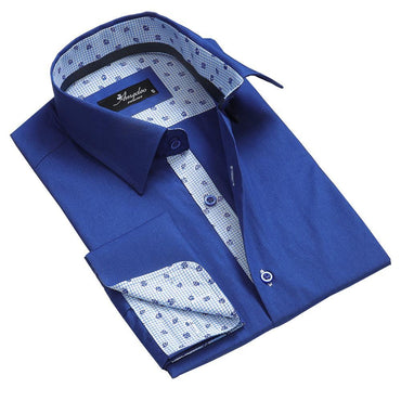 Blue Mens Slim Fit French Cuff Dress Shirts with Cufflink Holes - Casual and Formal - Amedeo Exclusive