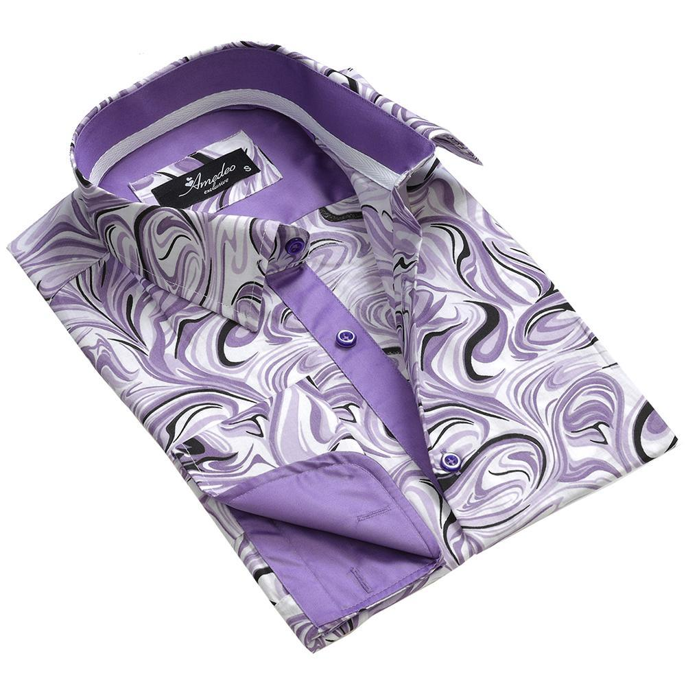 Purple White Swirls Mens Slim Fit French Cuff Dress Shirts with Cufflink Holes - Casual and Formal - Amedeo Exclusive