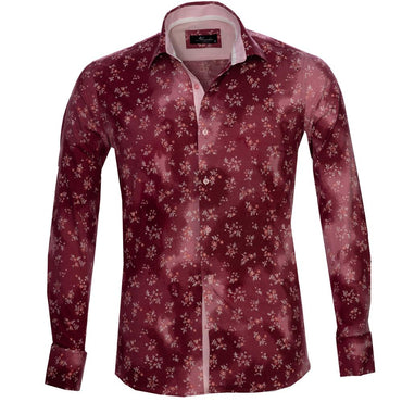 Red Floral Sheen Mens Slim Fit French Cuff Dress Shirts with Cufflink Holes - Casual and Formal - Amedeo Exclusive
