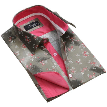 Gold Floral Sheen Mens Slim Fit French Cuff Dress Shirts with Cufflink Holes - Casual and Formal - Amedeo Exclusive