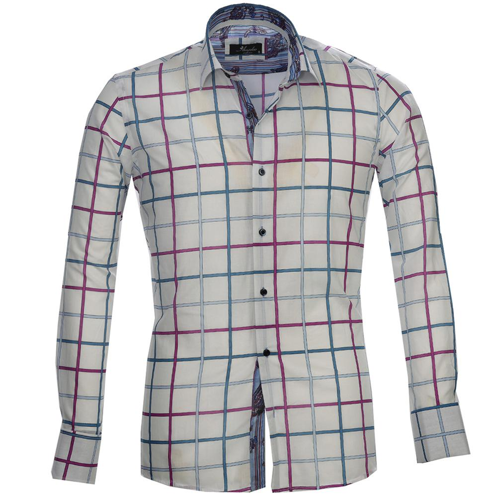 White Pink Blue Check Mens Slim Fit French Cuff Dress Shirts with Cufflink Holes - Casual and Formal - Amedeo Exclusive