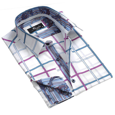 White Pink Blue Check Men's Reversible Dress Shirt, Button Down Slim Fit With French Cuff Casual And Formal