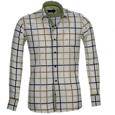 White Blue Green Check Men's Reversible Dress Shirt, Button Down Slim Fit With French Cuff Casual And Formal