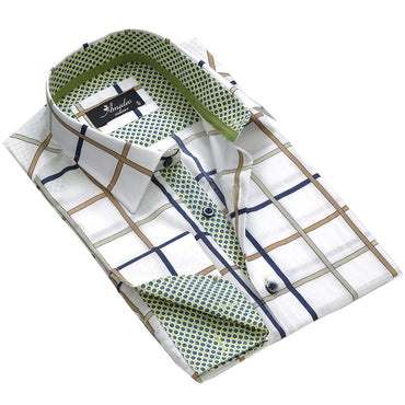 White Blue Green Check Men's Reversible Dress Shirt, Button Down Slim Fit With French Cuff Casual And Formal - Amedeo Exclusive