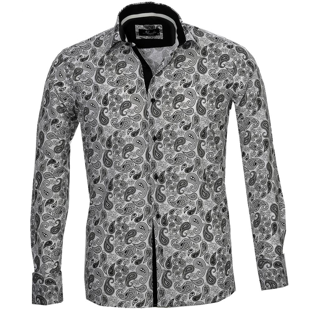 White Black Paisley Men's Reversible Dress Shirt, Button Down Slim Fit With French Cuff Casual And Formal - Amedeo Exclusive