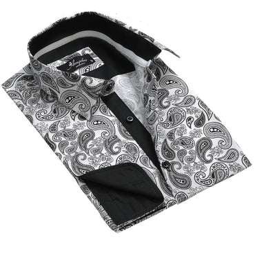 White Black Paisley Mens Slim Fit Designer Dress Shirt - tailored Cotton Shirts for Work and Casual Wear - Amedeo Exclusive