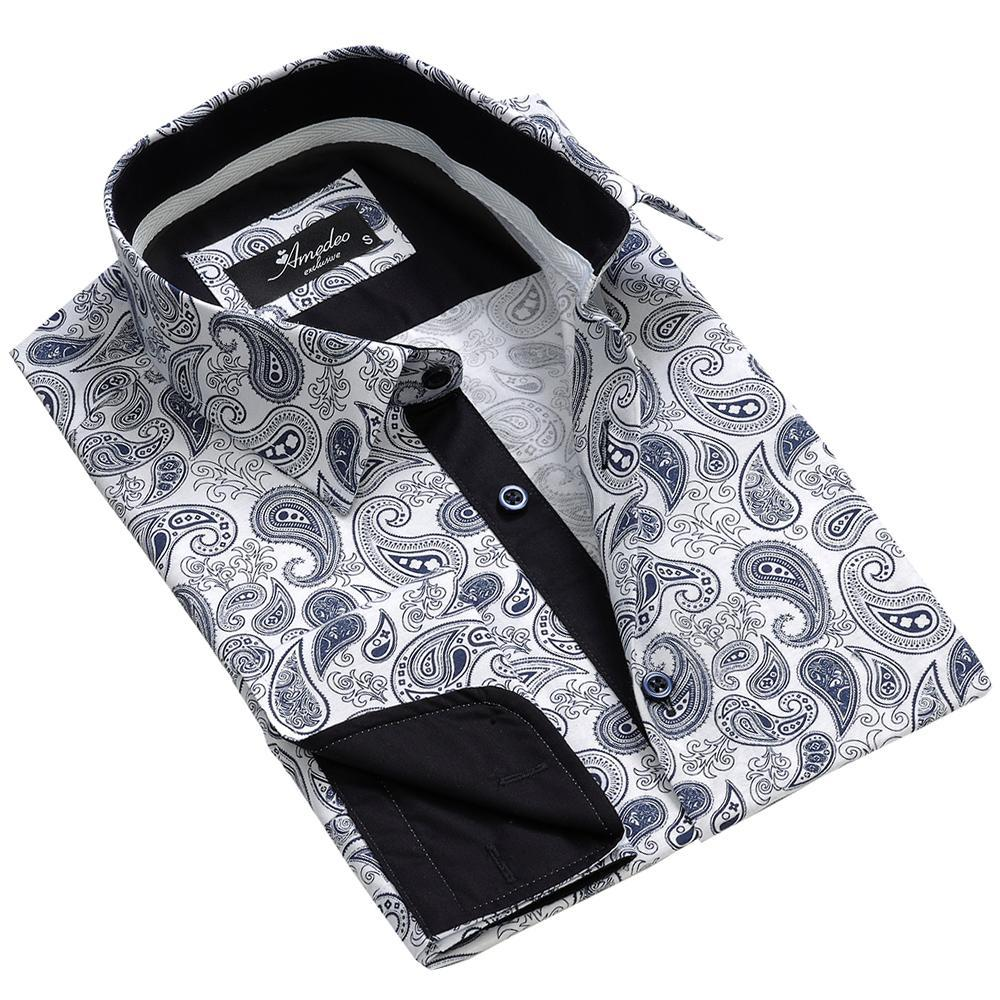White Blue Paisley Men's Reversible Dress Shirt, Button Down Slim Fit With French Cuff Casual And Formal
