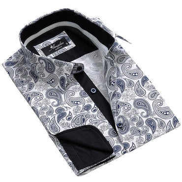 White Blue Paisley Mens Slim Fit Designer Dress Shirt - tailored Cotton Shirts for Work and Casual Wear - Amedeo Exclusive