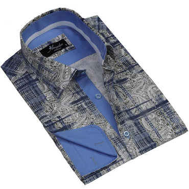 Beige Blue Paisley Men's Reversible Dress Shirt, Button Down Slim Fit With French Cuff Casual And Formal