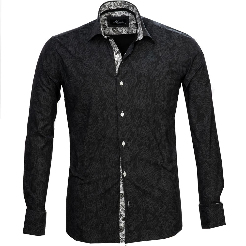 Black Grey Floral Mens Slim Fit French Cuff Dress Shirts with Cufflink Holes - Casual and Formal - Amedeo Exclusive