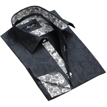 Black Grey Floral Men's Reversible Dress Shirt, Button Down Slim Fit With French Cuff Casual And Formal