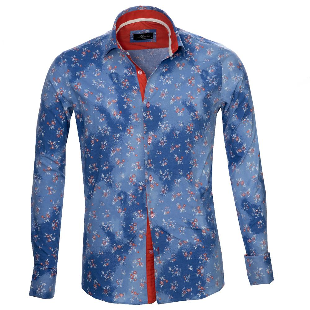 Blue Floral Sheen Men's Reversible Dress Shirt, Button Down Slim Fit With French Cuff Casual And Formal