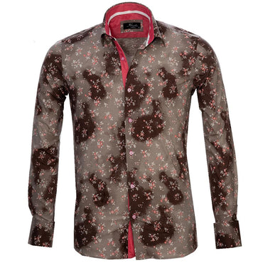 Men's Reversible Brown Floral Sheen French Cuff Dress Shirts
