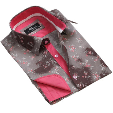 Brown Floral Sheen Mens Slim Fit French Cuff Dress Shirts with Cufflink Holes - Casual and Formal - Amedeo Exclusive