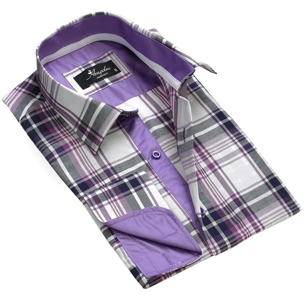 White Purple Check Men's Reversible Dress Shirt, Button Down Slim Fit With French Cuff Casual And Formal - Amedeo Exclusive