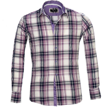 White Purple Check Mens Slim Fit French Cuff Dress Shirts with Cufflink Holes - Casual and Formal - Amedeo Exclusive