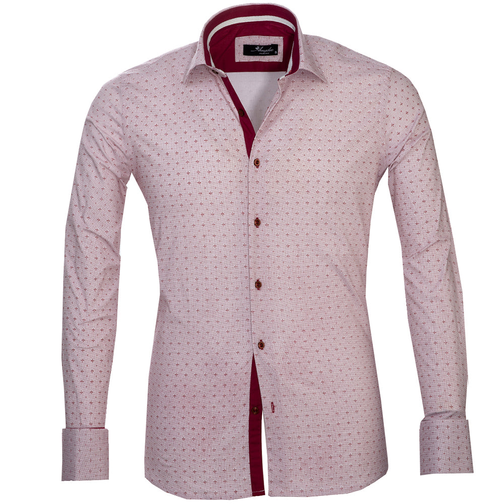 Burgandy And White Polka Dots Mens Slim Fit Designer Dress Shirt - tailored Cotton Shirts for Work and Casual Wear - Amedeo Exclusive