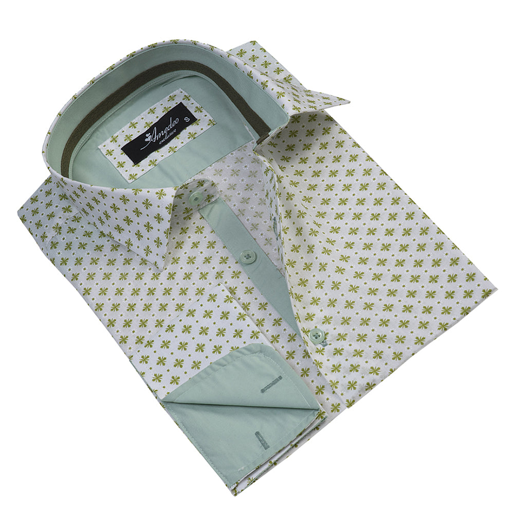Light Green with Pattern Mens Slim Fit French Cuff Dress Shirts with Cufflink Holes - Casual and Formal - Amedeo Exclusive