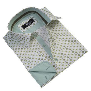 Men's Reversible French Cuff Light Green with Pattern Dress Shirts