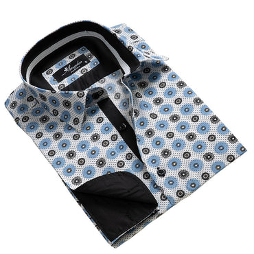 Men's Reversible French Cuff White with Black and Blue Circles Dress Shirts