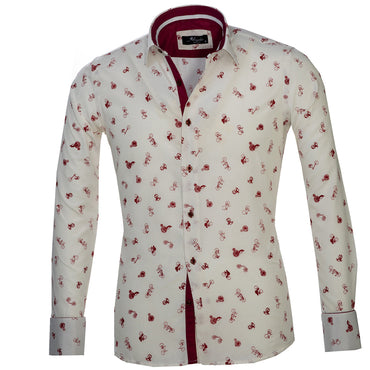 White with Burgandy Bicycles Mens Slim Fit French Cuff Dress Shirts with Cufflink Holes - Casual and Formal - Amedeo Exclusive