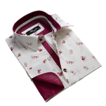 Men's Reversible French Cuff White with Burgandy Bicycles Dress Shirts