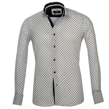 White with Black Pattern Mens Slim Fit French Cuff Dress Shirts with Cufflink Holes - Casual and Formal - Amedeo Exclusive
