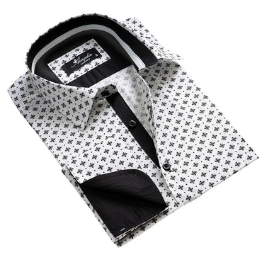 Men's Reversible French Cuff White with Black Pattern Dress Shirts