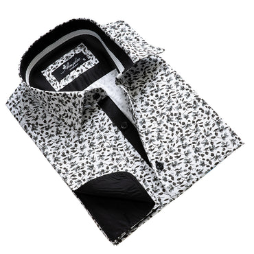 Dark Grey Floral Mens Slim Fit French Cuff Dress Shirts with Cufflink Holes - Casual and Formal - Amedeo Exclusive