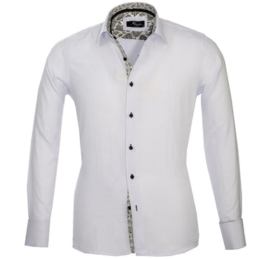White with Black Paisley Mens Slim Fit French Cuff Dress Shirts with Cufflink Holes - Casual and Formal - Amedeo Exclusive