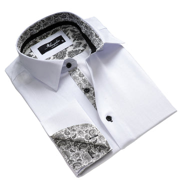 Men's Reversible French Cuff White with Black Paisley Dress Shirts