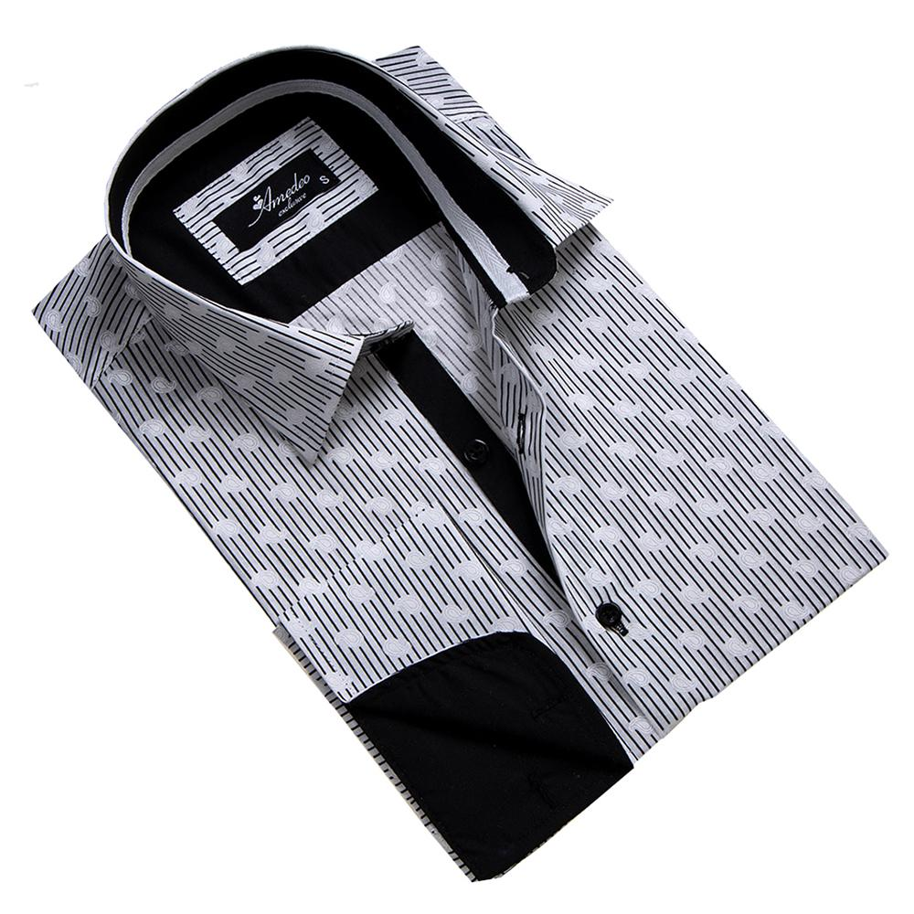 Black & White Mens Slim Fit French Cuff Dress Shirts with Cufflink Holes - Casual and Formal - Amedeo Exclusive