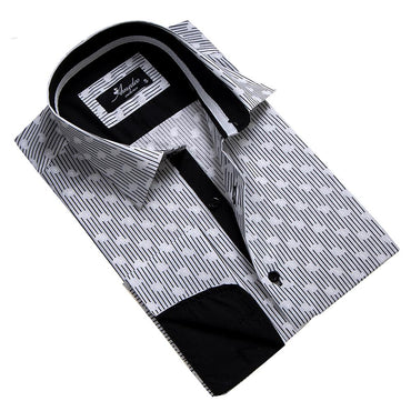 Men's Reversible French Cuff Black & White Lines with Paisley Dress Shirts