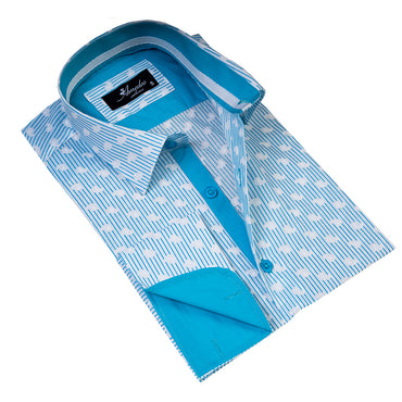 Men's Reversible French Cuff White & Blue Lines with Paisley Dress Shirts