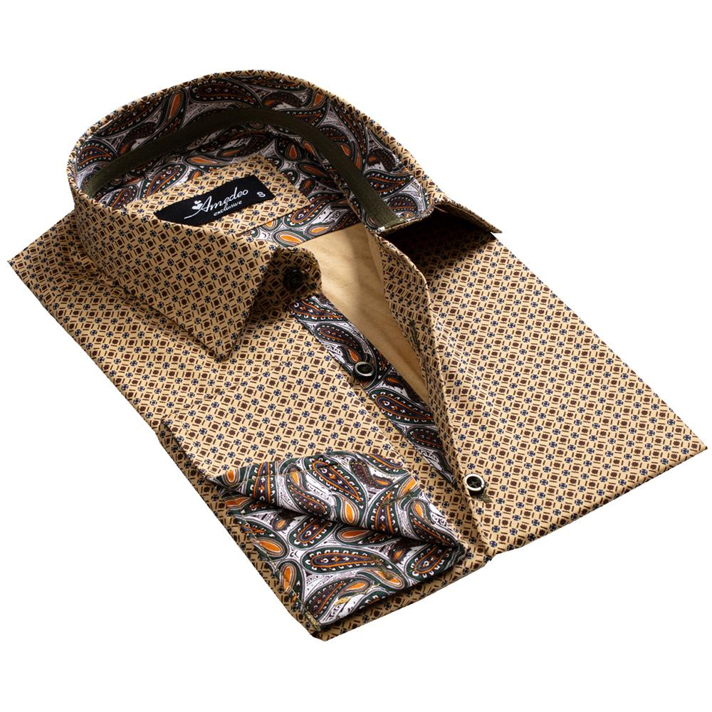 Brownish Gold Paisley Mens Slim Fit French Cuff Dress Shirts with Cufflink Holes - Casual and Formal - Amedeo Exclusive