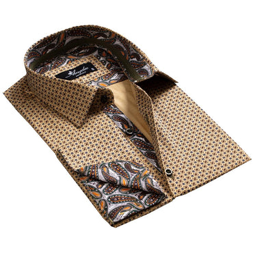 Brownish Gold with Paisley Men's Reversible Dress Shirt, Button Down Slim Fit with French Cuff Casual and Formal - Amedeo Exclusive