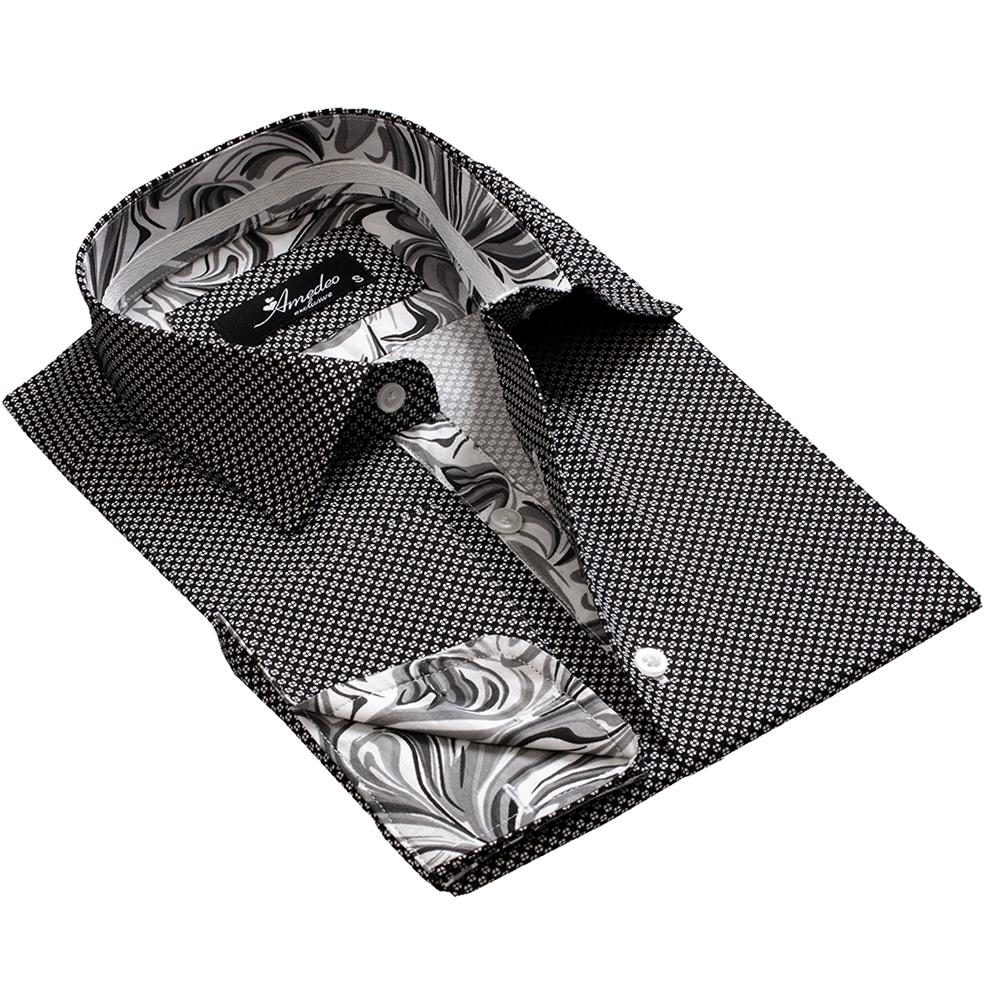 cf9fc45c5d Men s Reversible Black And White French Cuff Dress Shirts