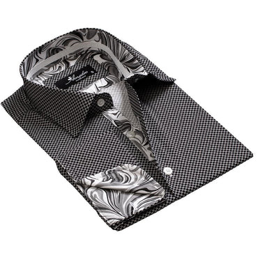 Black And White Men's Mens Slim Fit French Cuff Dress Shirts with Cufflink Holes - Casual and Formal - Amedeo Exclusive
