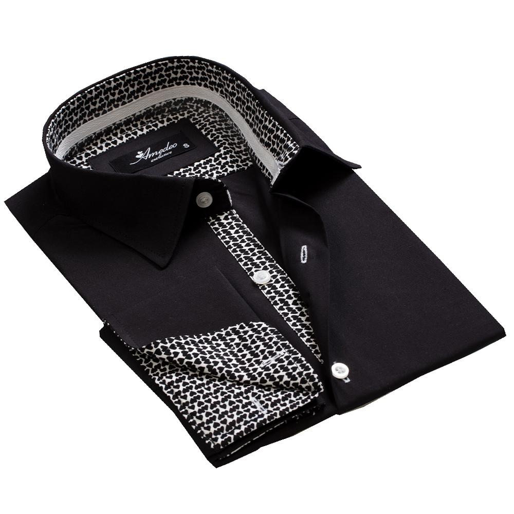 Black Mens Slim Fit French Cuff Dress Shirts with Cufflink Holes - Casual and Formal - Amedeo Exclusive