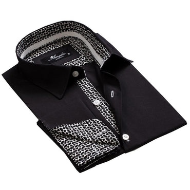 Black with Pattern Men's Reversible Dress Shirt, Button Down Slim Fit with French Cuff Casual and Formal - Amedeo Exclusive