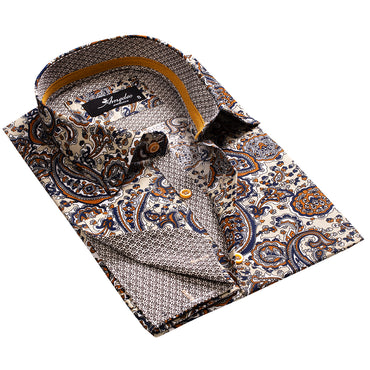 Fun Paisley on Tan Design Men's Reversible Dress Shirt, Button Down Slim Fit with French Cuff Casual and Formal - Amedeo Exclusive