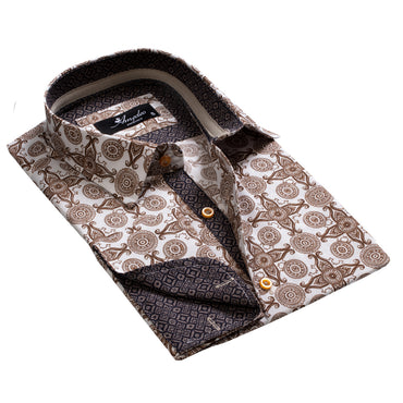 Men's Reversible White and Brown Design French Cuff Dress Shirts