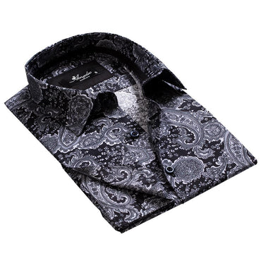 Black Grey Paisley Mens Slim Fit French Cuff Dress Shirts with Cufflink Holes - Casual and Formal - Amedeo Exclusive