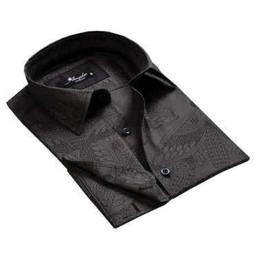 Men's Reversible Black Paisley Design French Cuff Dress Shirts