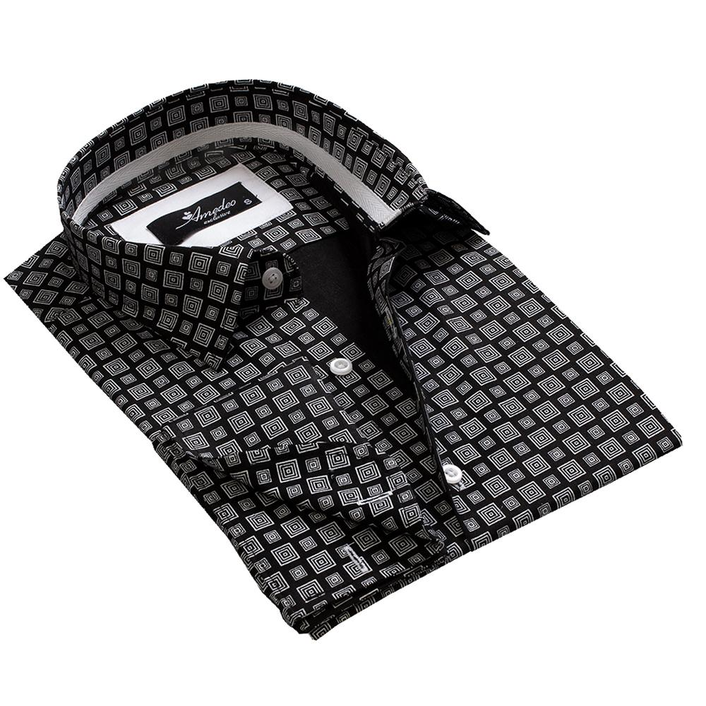 Black Grey Squares Mens Slim Fit French Cuff Dress Shirts with Cufflink Holes - Casual and Formal - Amedeo Exclusive