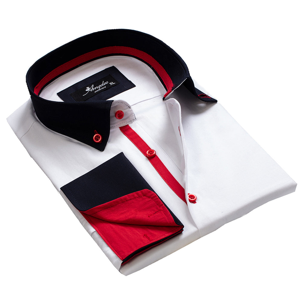 White Navy Blue Red Design Mens Slim Fit Designer Dress Shirt - tailored Cotton Shirts for Work - Amedeo Exclusive