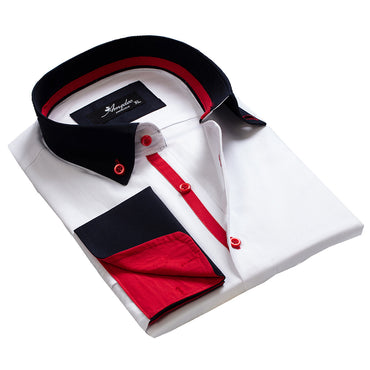 Men's Reversible White Navy Blue Red Design French Cuff Dress Shirts