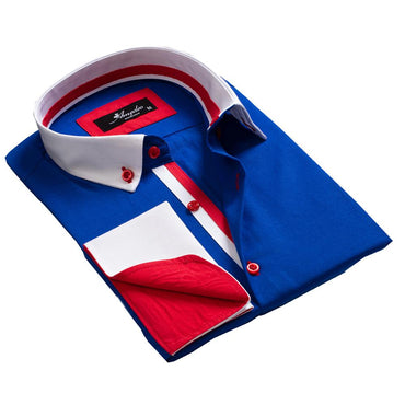 Men's Reversible Medium Blue White Red Design French Cuff Dress Shirts