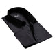 Solid Black Mens Slim Fit French Cuff Dress Shirts with Cufflink Holes - Casual and Formal - Amedeo Exclusive